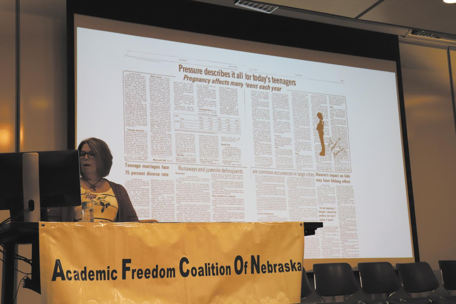 Cathy Kuhlmeier Frey, the plaintiff on Hazelwood v. Kuhlmeier, presents the spread that was removed from the paper by the principal in her AFCON key note presentation. Photo by Emily Nelson